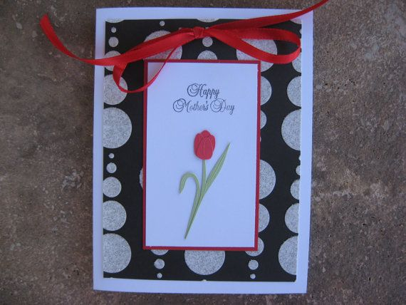 Mothers Day Card Handmade with a Red Tulip by eyepoppingcreations, $4.00