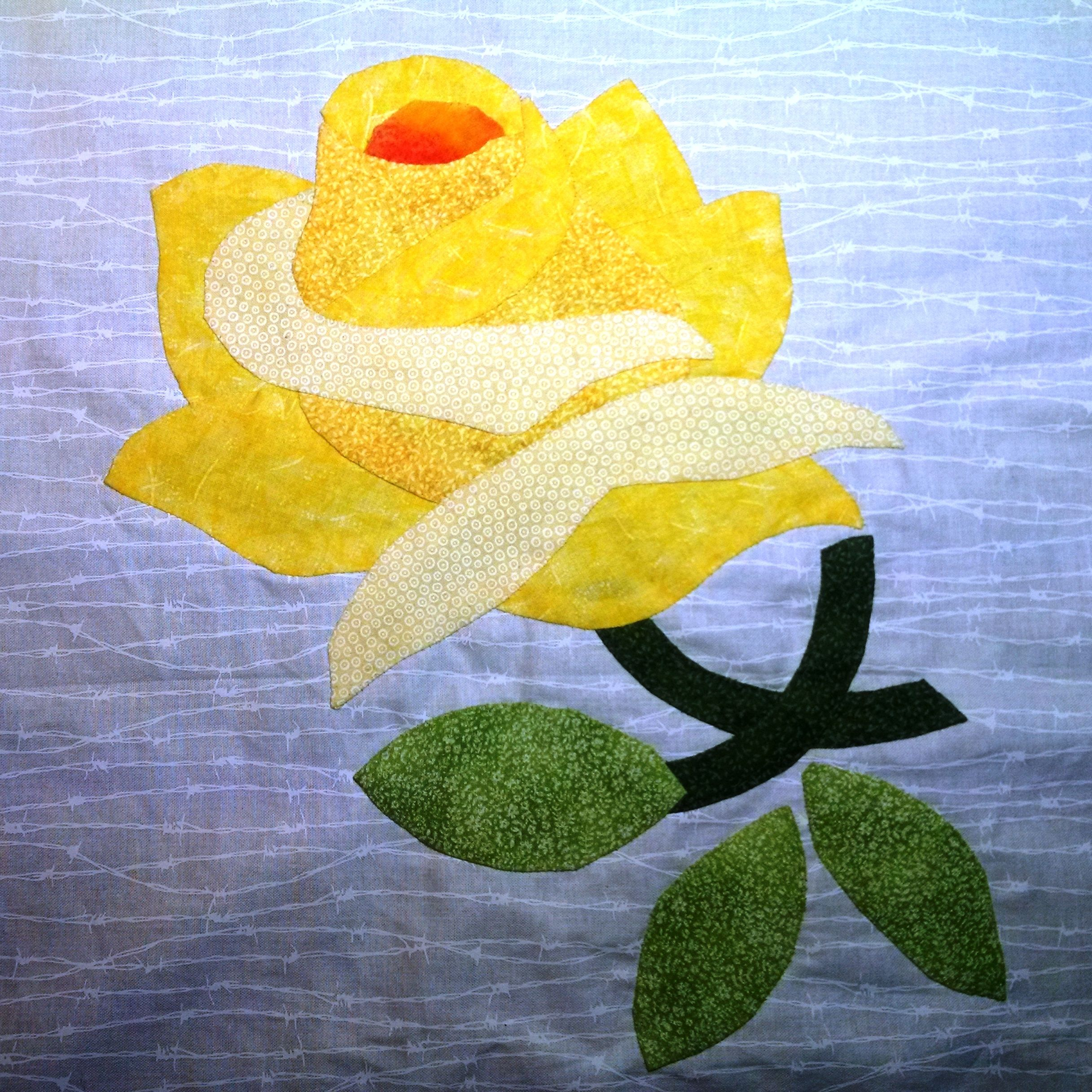 Yay, my first applique quilt block! Yellow Rose of Texas on barbed ...