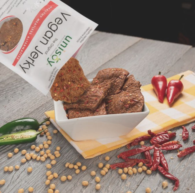 Mild Spicy Vegan Jerky Unisoy Jerky Price 6 99 A Quick Snack For On The Go Activities Whether You Are Hiking Up A M Vegan Jerky Jerky Recipes Quick Snacks