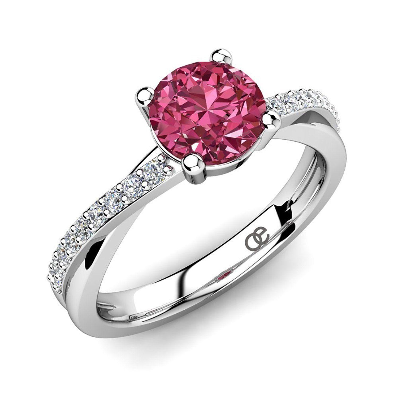 Moncoeur Verlobungsring Douceur Pink Turmalin 925 Sterling Silber