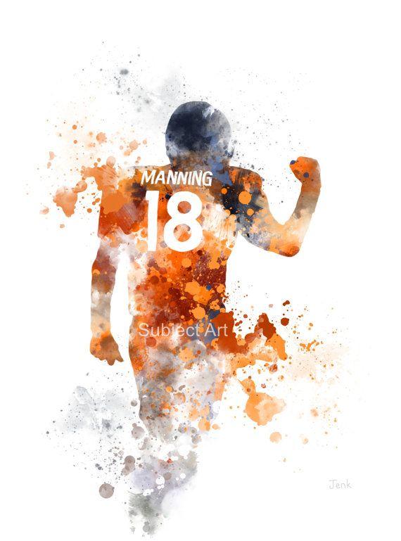 Peyton Manning ART PRINT illustration Denver Broncos by SubjectArt ...