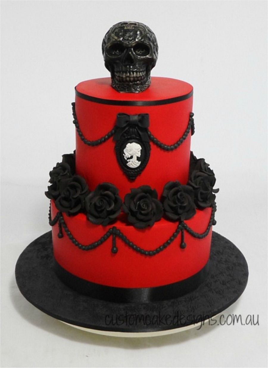 This Cake Was Made For My Clients Best Friend Who Wanted A Tasteful Gothic Themed Cake That Had Red Black And Skulls So This Is What I Ca This Cake Was Made For My Clients Best Friend Who Wanted A Tasteful Gothic Themed Cake That Had Red Black And Skulls So This Is What I Ca... #skulls #halloween #halloweencake #cakecentral