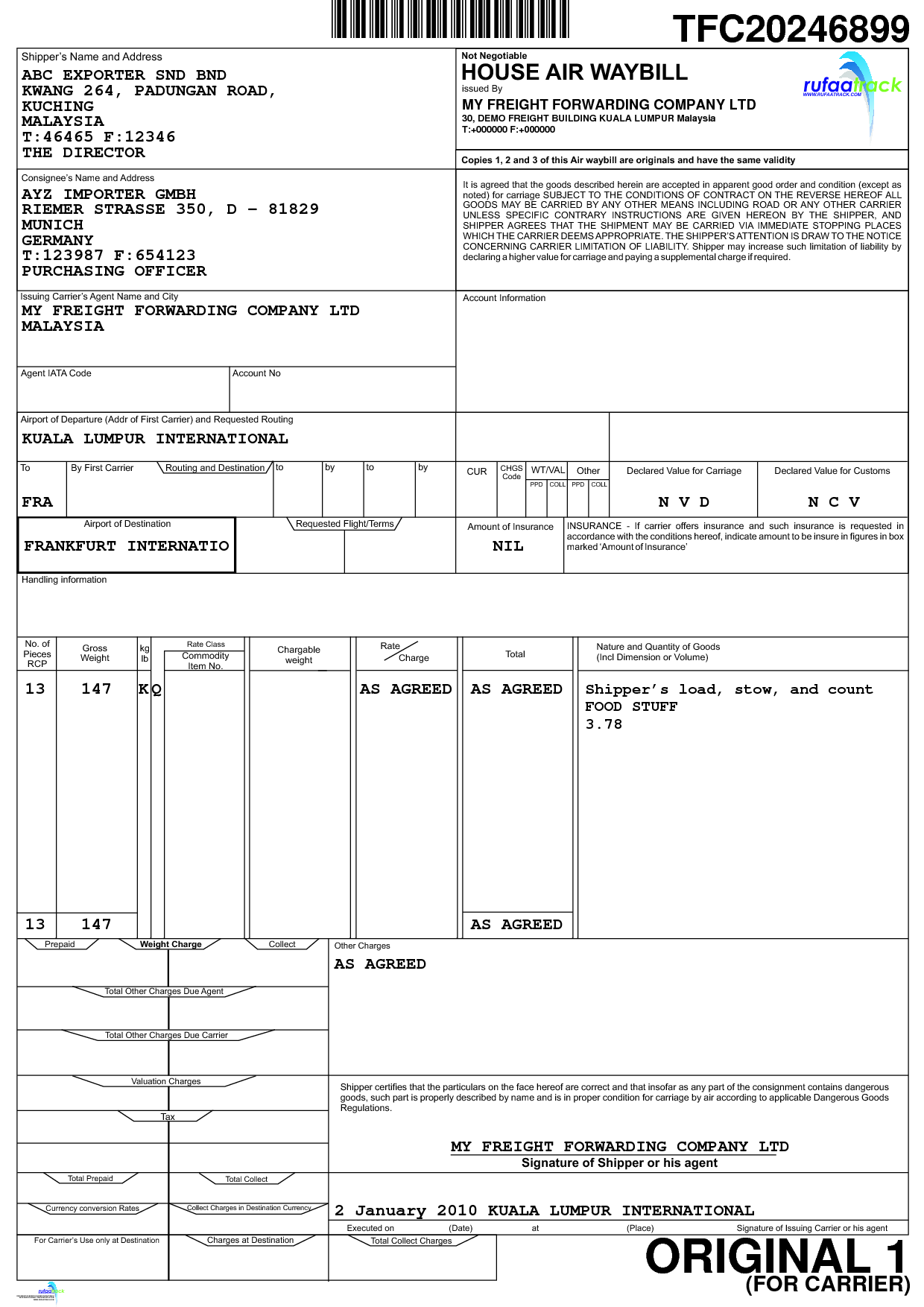 airway bill Bill template, Bills, Templates