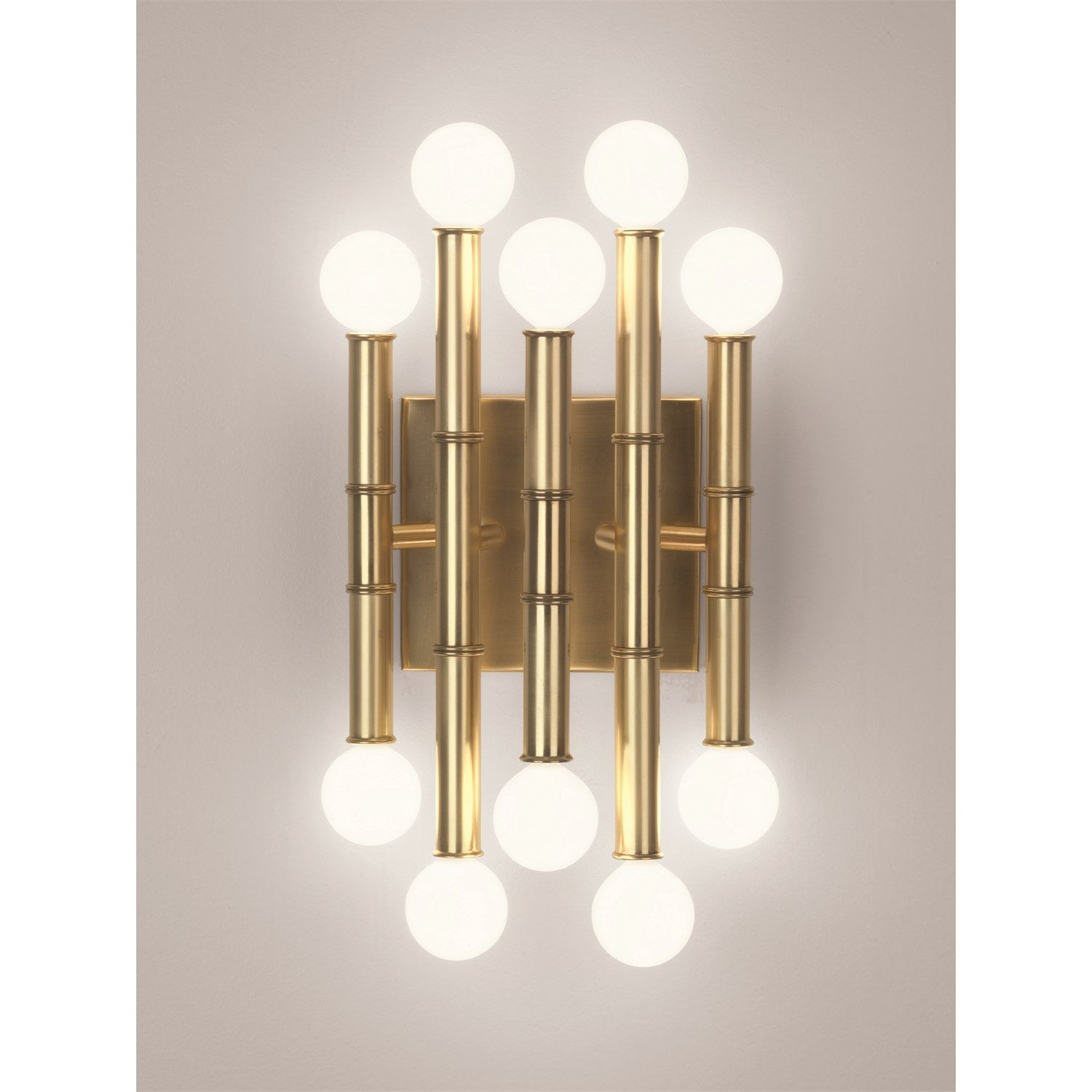 Robert Abbey 686 Jonathan Adler Meurice 10 Light Wall Sconce In Antique Brass Wall Sconce Lighting Indoor Wall Sconces Brass Wall Sconce