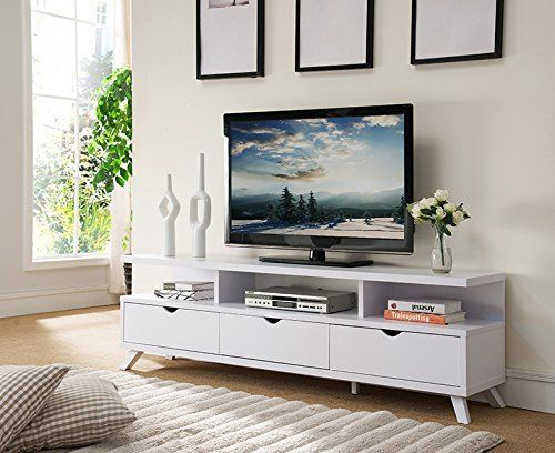151280wh 70 Tv Stand Home Entertainment Center Console White Ed Furniture Smarthome Modern