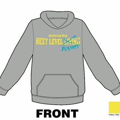 Next level addict grey/teal/yellow hoodie
