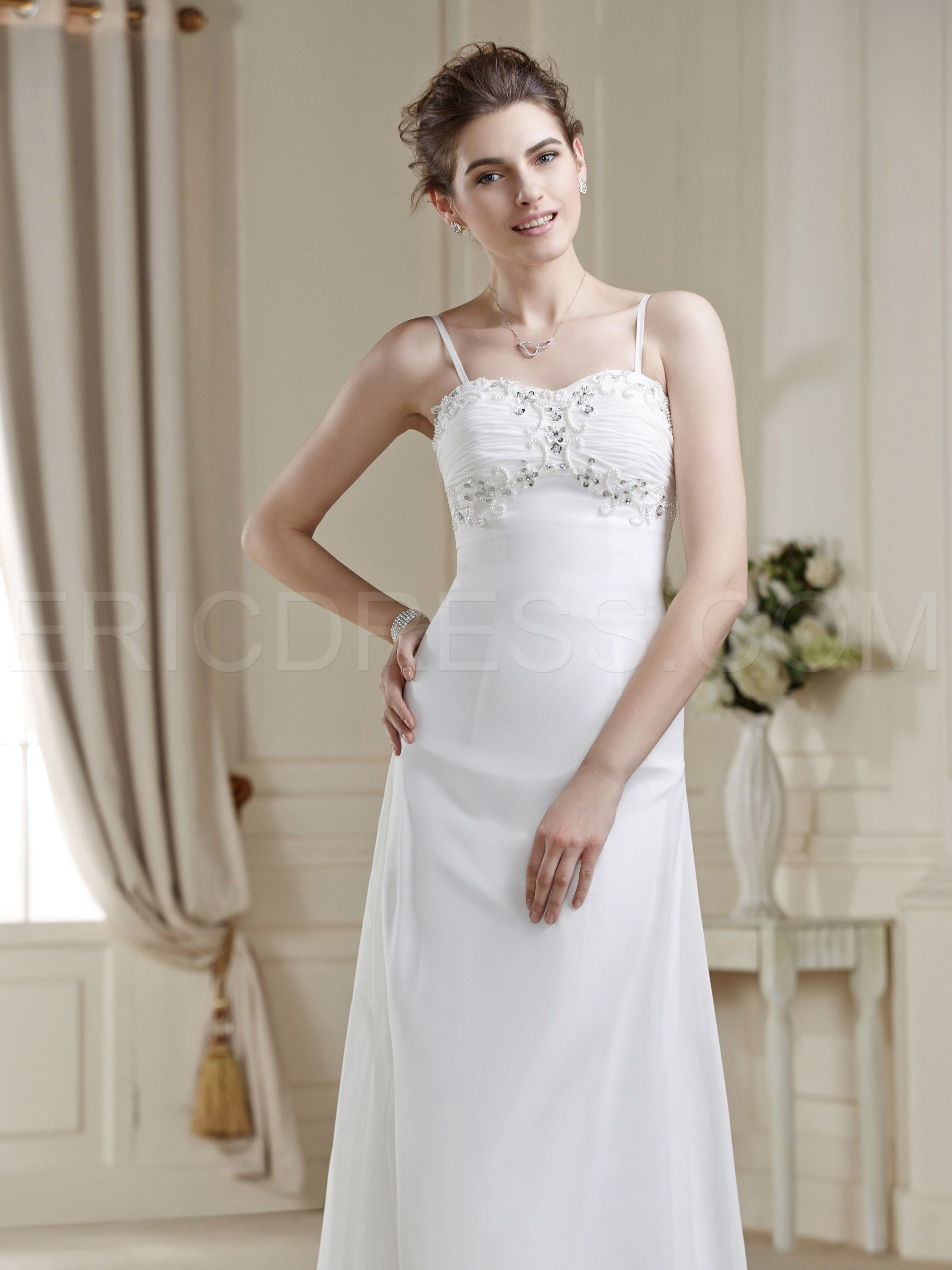 Aline Asymmetry Spaghetti Strap Zipperup Sequins Wedding