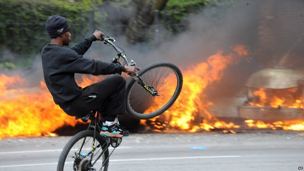 Cyclist and fire