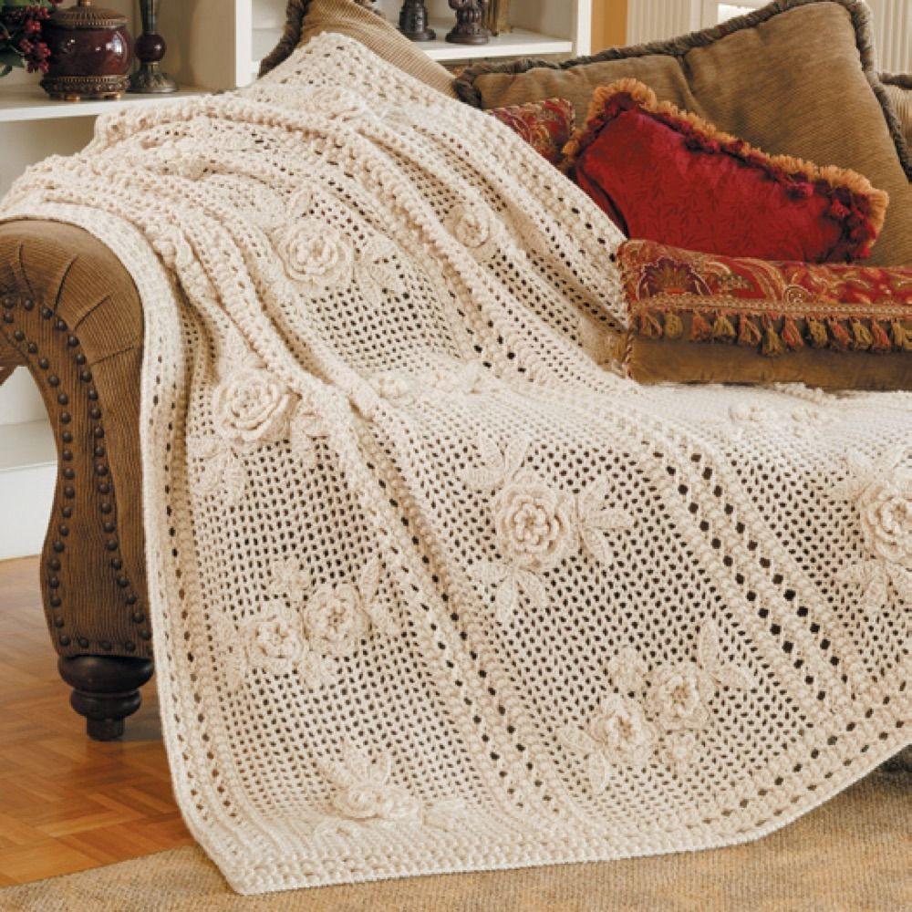 Flower Garden Afghan in Red Heart Soft Solids - LW1470 | Blankets ...