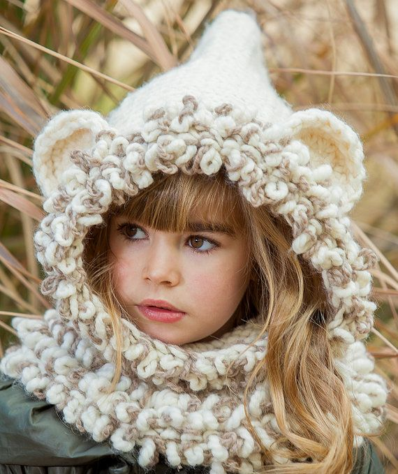Knitted hooded animal scarf, knitted cowl hooded, hooded ...