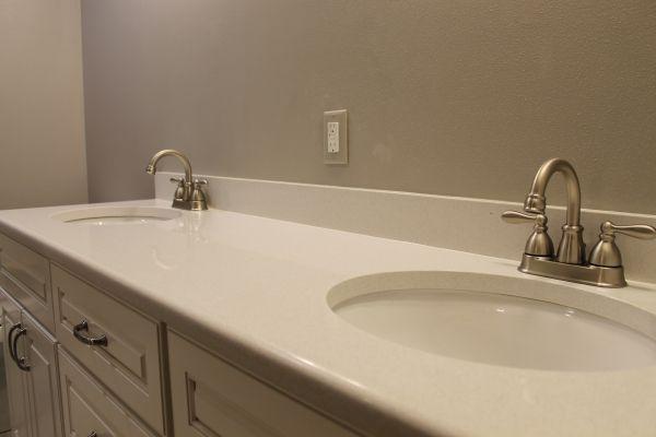 Quartz Bathroom Countertop With Backsplash And Two Undermount Sinks Quartz Bathroom Quartz Bathroom Countertops Bathroom Vanity Countertops