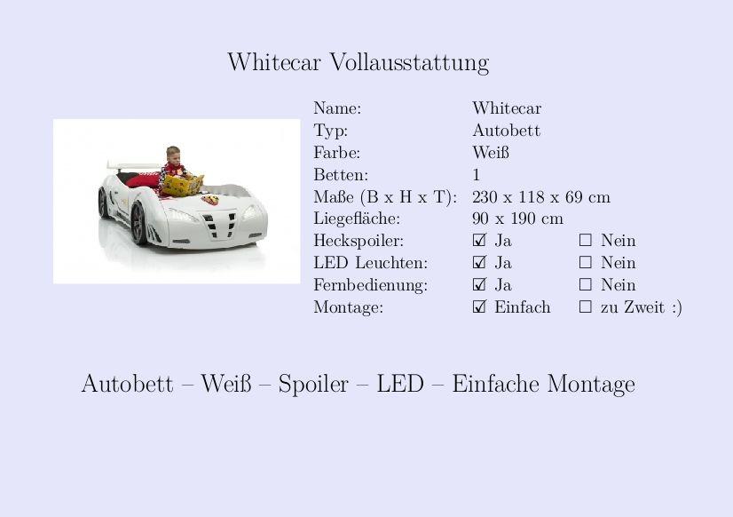 Kinderbett auto weiss  Whitecar #Kinderbett #Jungs #Auto #Weiß #Fernbedienung ...