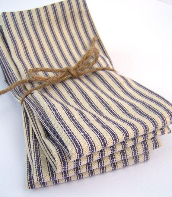 Blue French Ticking Cloth Napkins Set of 8 Fabric Napkins