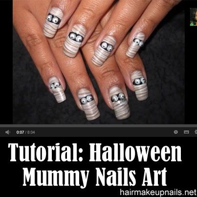 Halloween Mummy Water Marble Nail Art Tutorial | Marble ...
