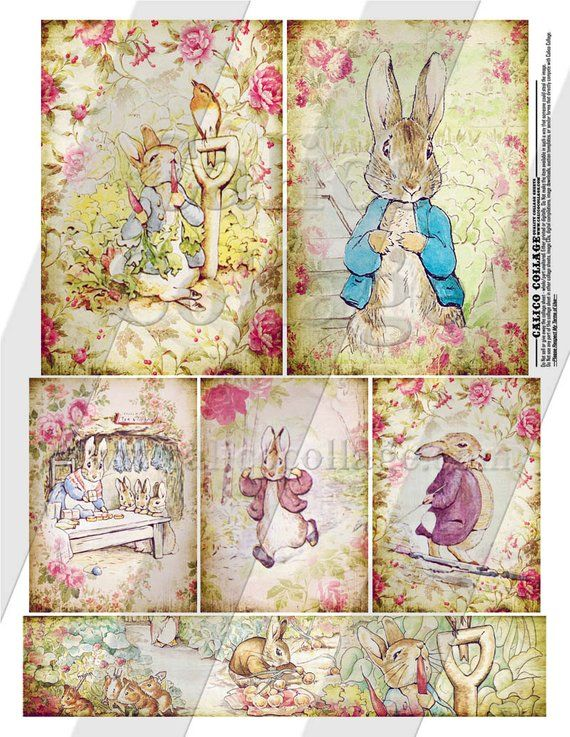 Peter Rabbit, Collage Sheet, Printable Ephemera, Decoupage