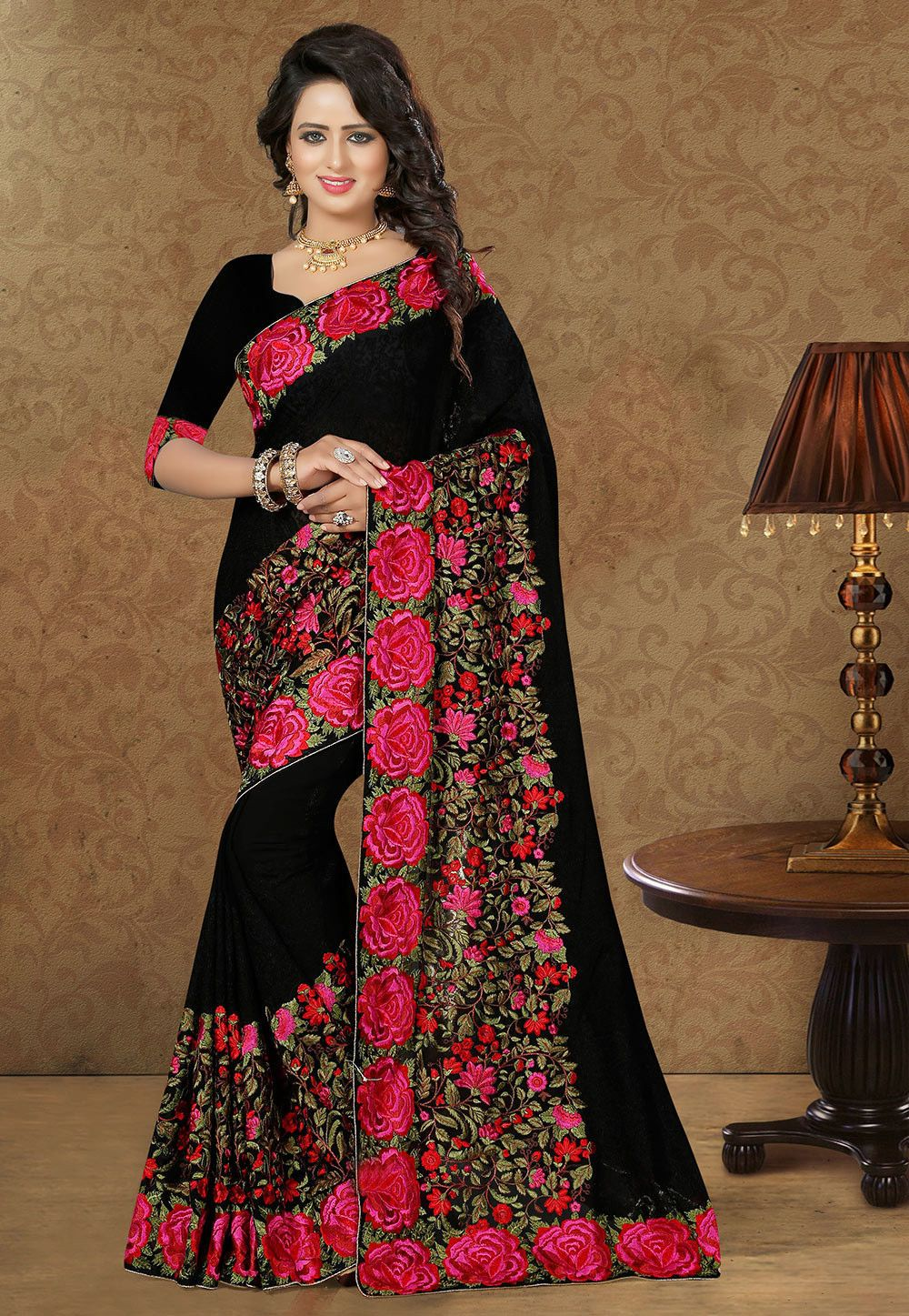 Buy Embroidered Saree in Black online,Item code