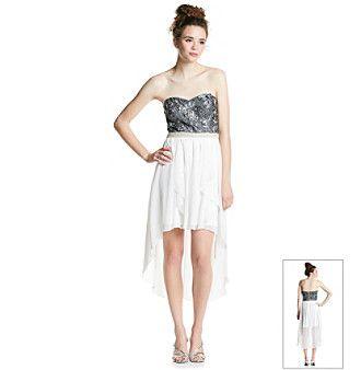 City Triangles® Juniors' Strapless High Low Soutache Dress