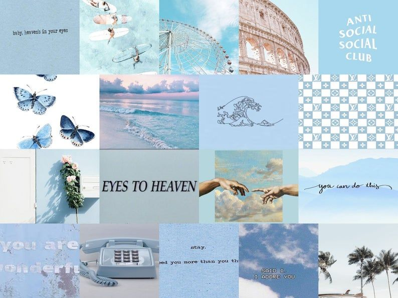 Light Blue Wall Collage Kit Digital Aesthetic Desktop Wallpaper Cute Desktop Wallpaper Wallpaper Notebook