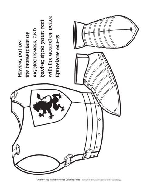 Free Breastplate Coloring Page Cc C2 Armor Of God Sunday