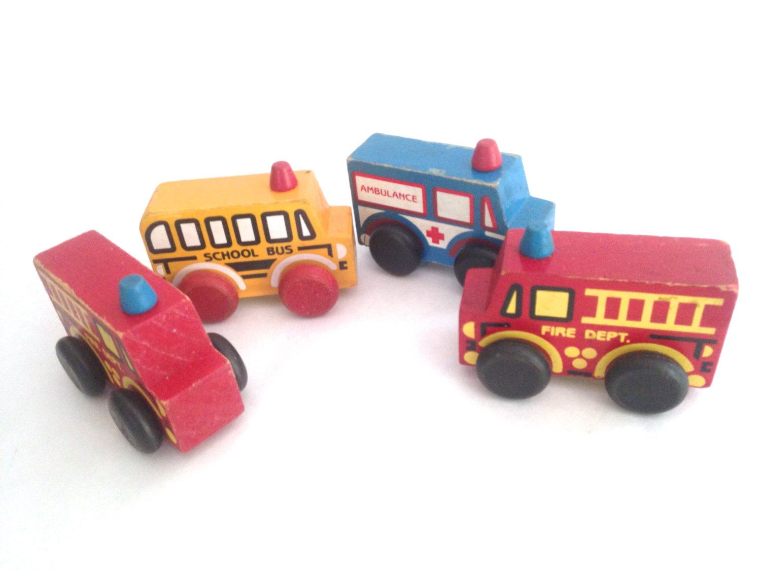 Toys car and truck  Montgomery Schoolhouse truck collection  fire ambulance school