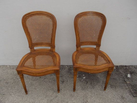 Hollywood Regency Louis 15th Style Caned Bergere Chairs 2 Available