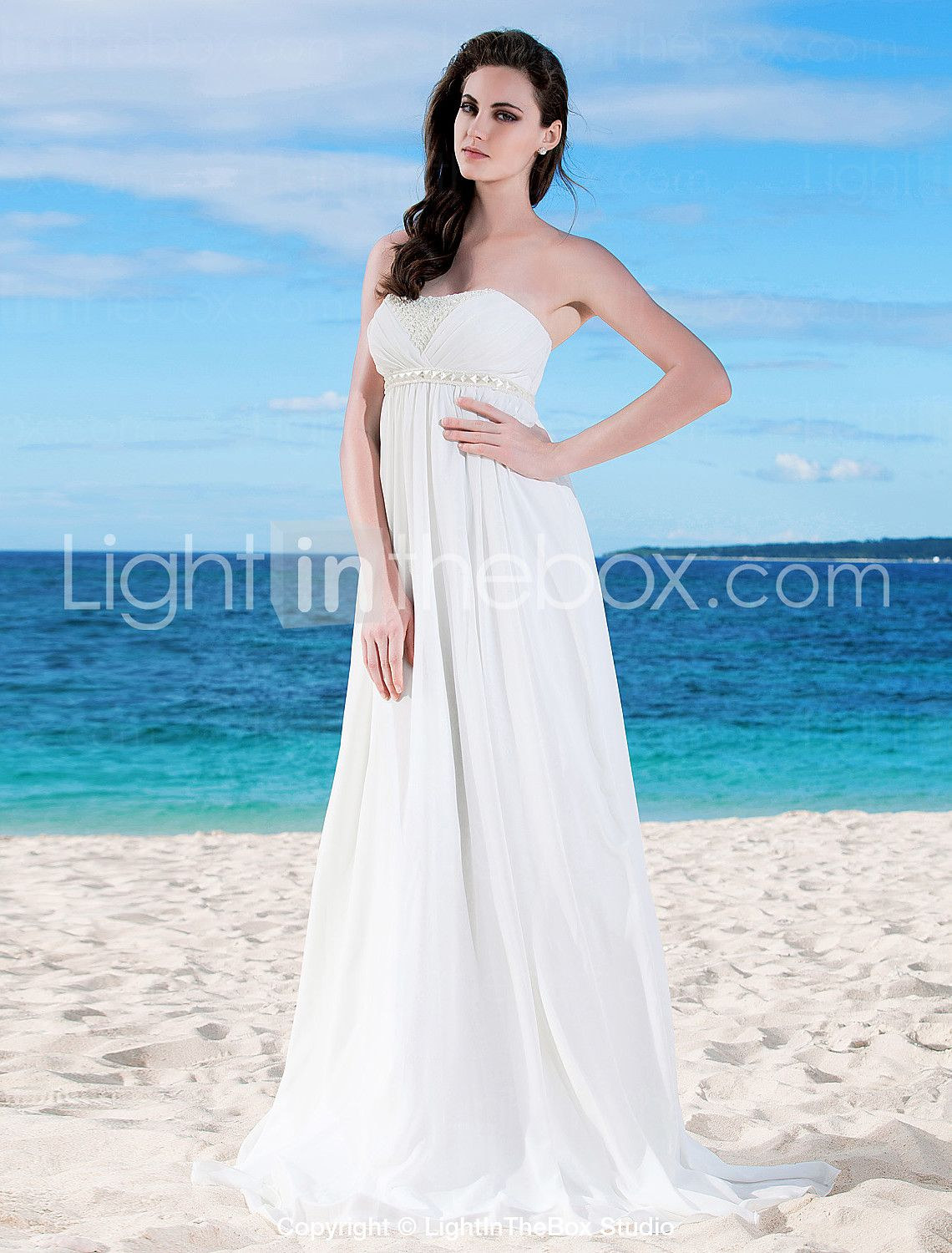 A-Line Strapless Floor Length Chiffon Made-To-Measure Wedding ...