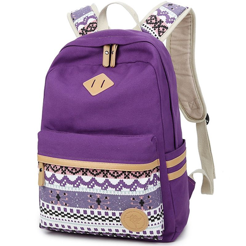 ead28e7008a6 Ethnic Women Backpack for School Teenagers Girls Vintage Stylish School Bag  Ladies Backpack Female Purple Back Pack High Quality B E S T Online  Marketplace ...