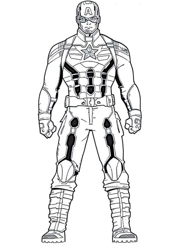 Captain America Coloring Pages Free Printable Super Heroi