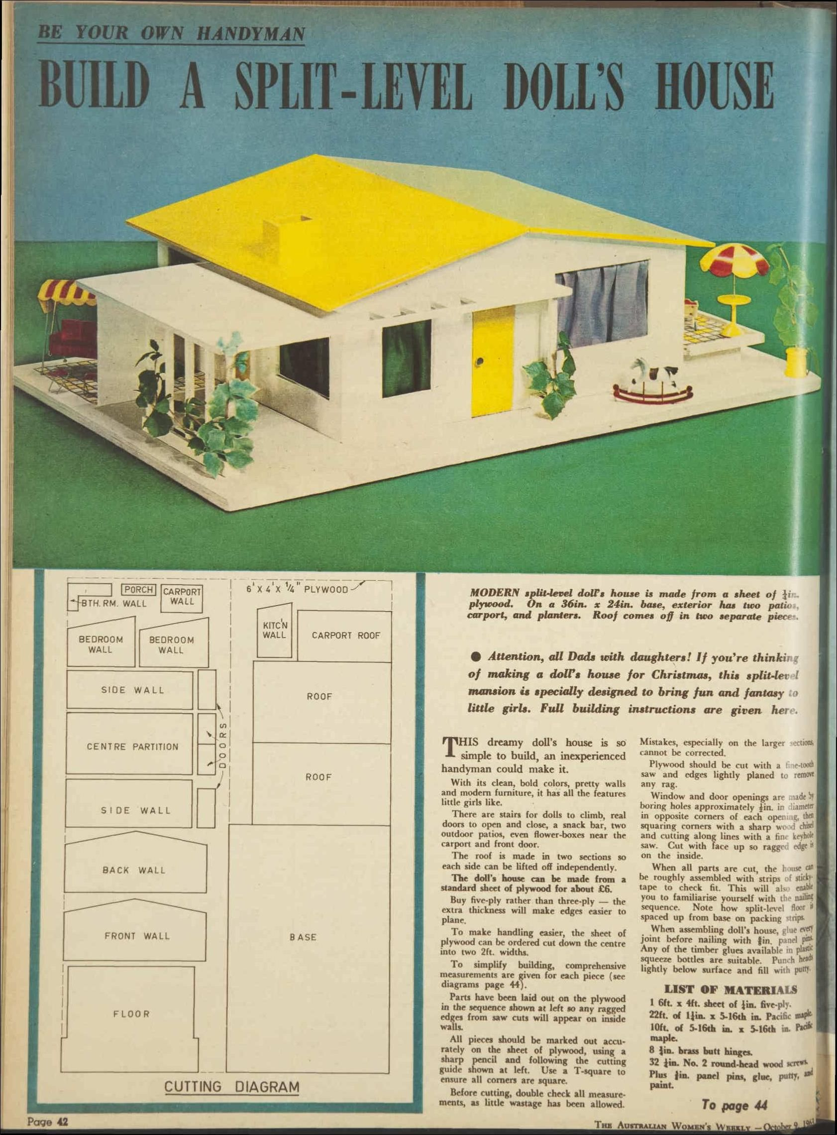 Plans for a splitlevel 1960s doll's house 9 Oct 1963