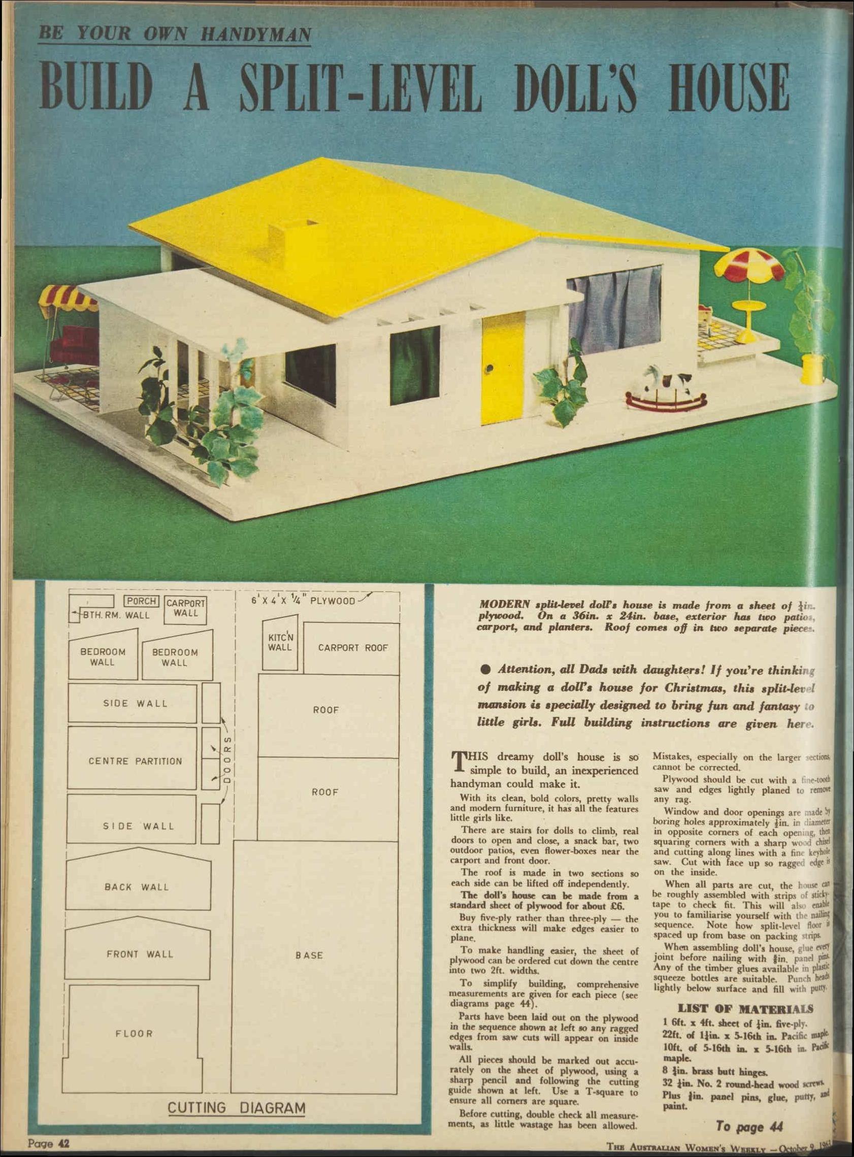 Plans for a split level 1960s dolls house 9 oct 1963 the australian womens