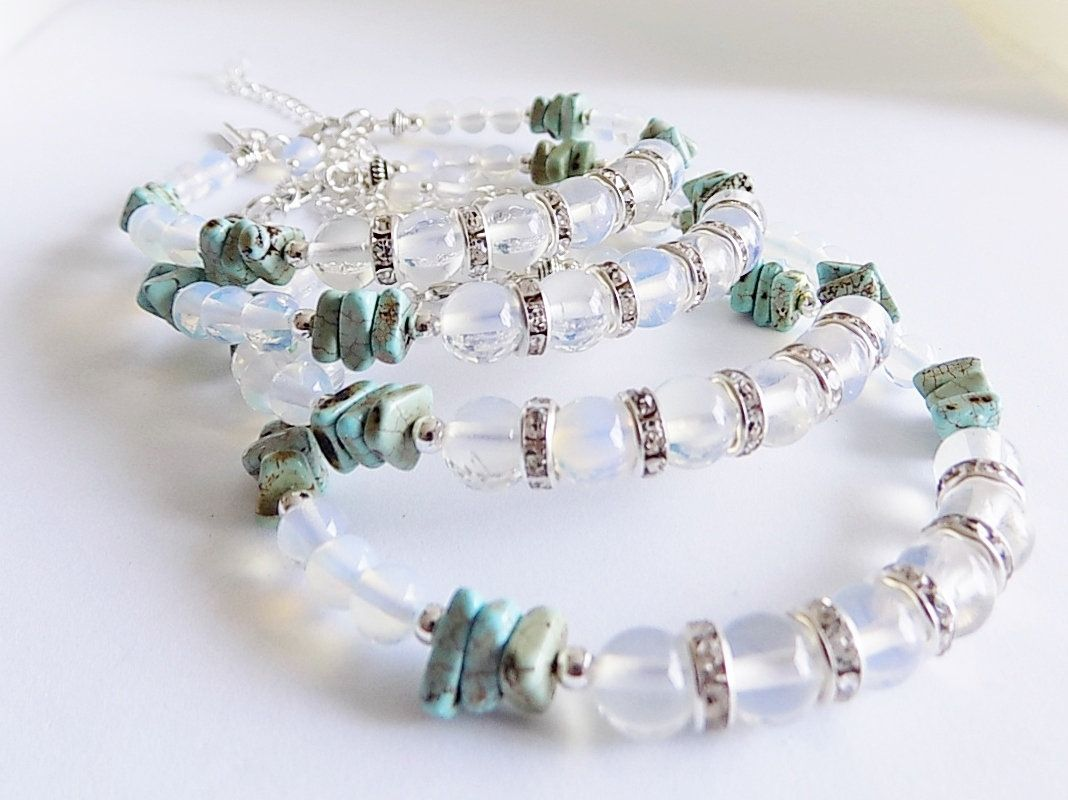 A set of bridesmaids flower girls memory wire bracelets with