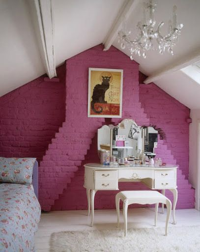eaves attic bedroom pink feature bare painted brick wall chimney rh pinterest com