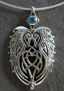 RAVENS HEART - Large Sterling Silver Celtic Pendant By Jen Delyth. I own one of these set with a small ruby.