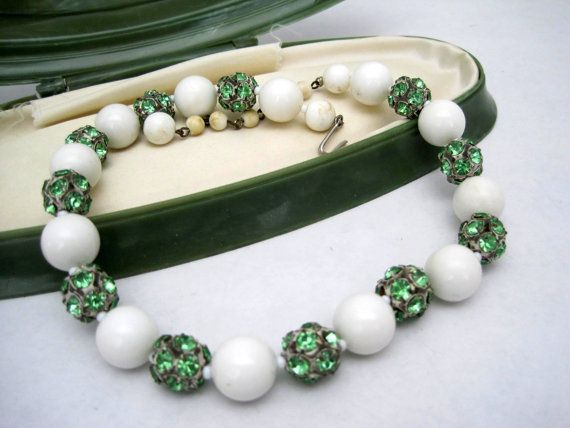 Green Rhinestone Choker White Bead  Necklace