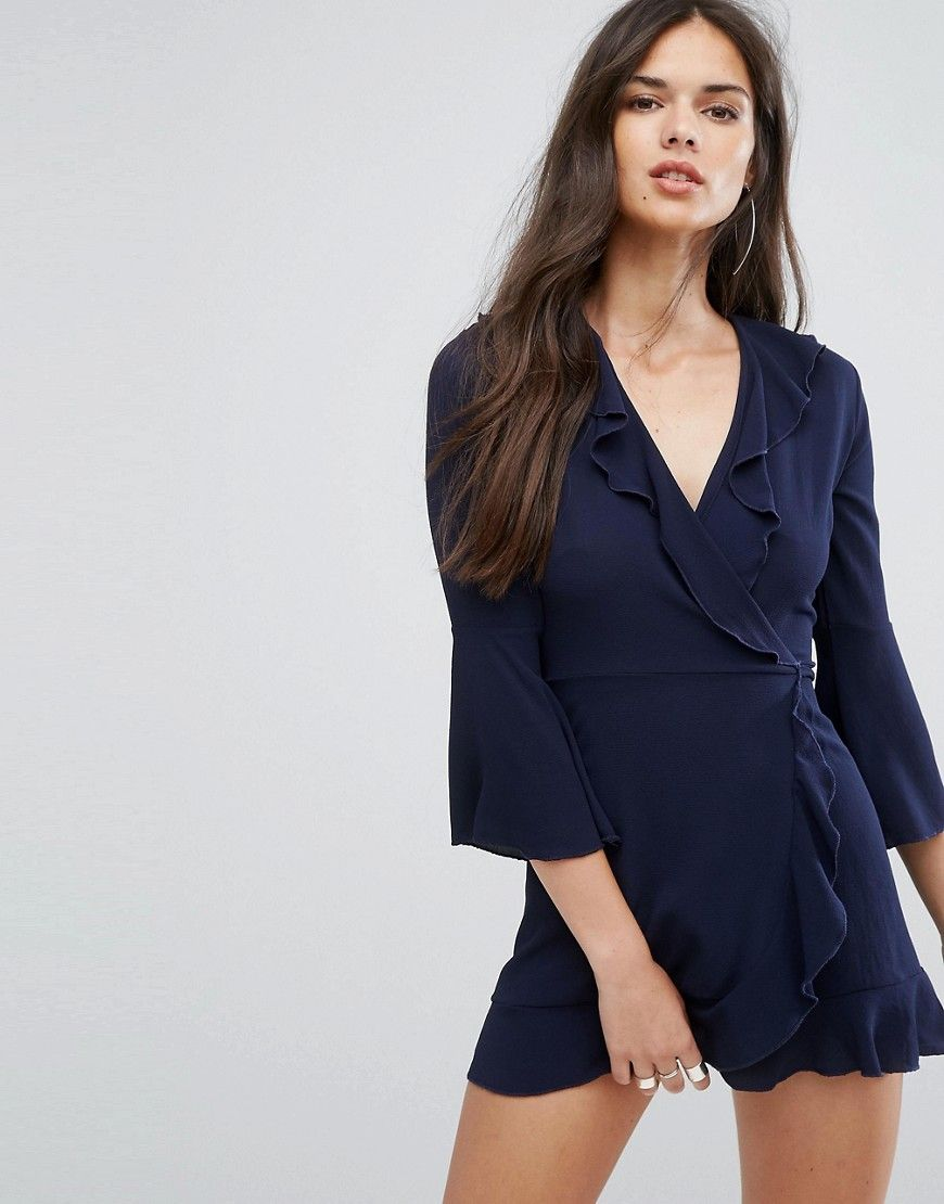 630ad5e92ce Outrageous Fortune Ruffle Wrap Dress With Fluted Sleeve – Navy ...