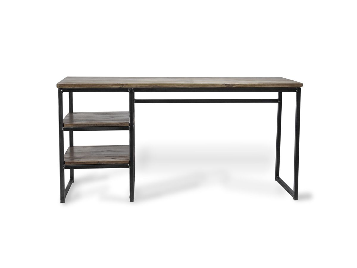 Industrial Office Desk In Dark Wood Almost Monochrome This