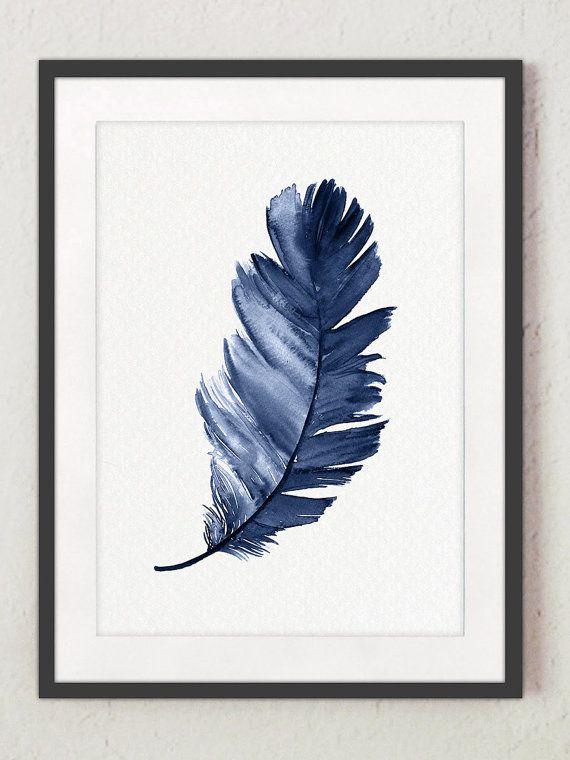 Royal Blue Feather Kunstdruck Set 2 Federn. Minimalistische Aquarell  Malerei Abstrakte Wohnzimmer Dekor. Baby Boy Dusche Geschenk Idee.