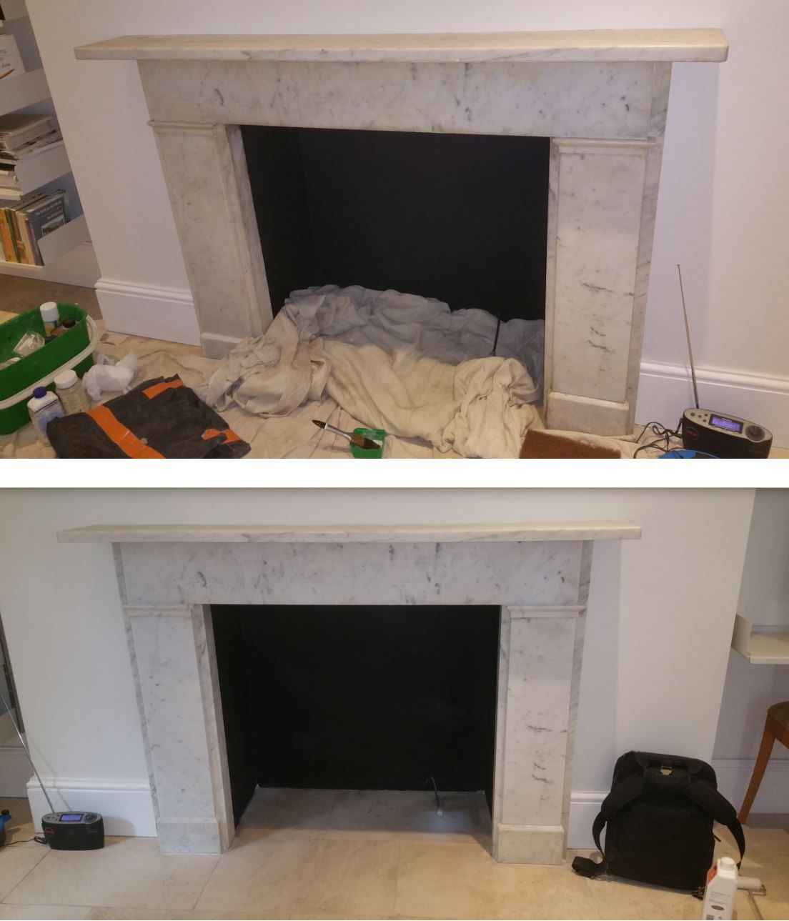 A marble stone fireplace cleaned using a karcher steam