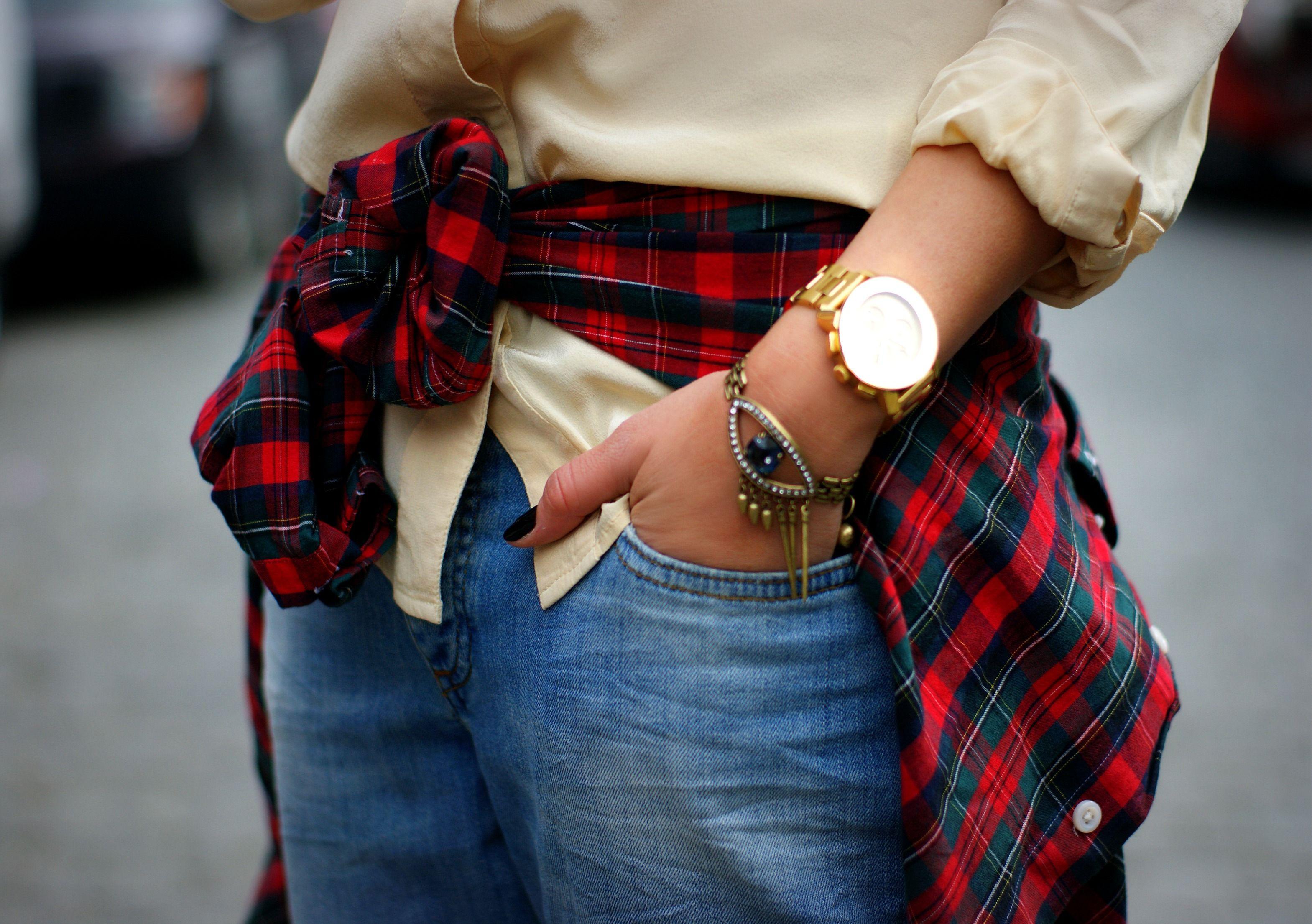 Red flannel around waist  fashion blogger Danielle Bernstein of We Wore What feautures
