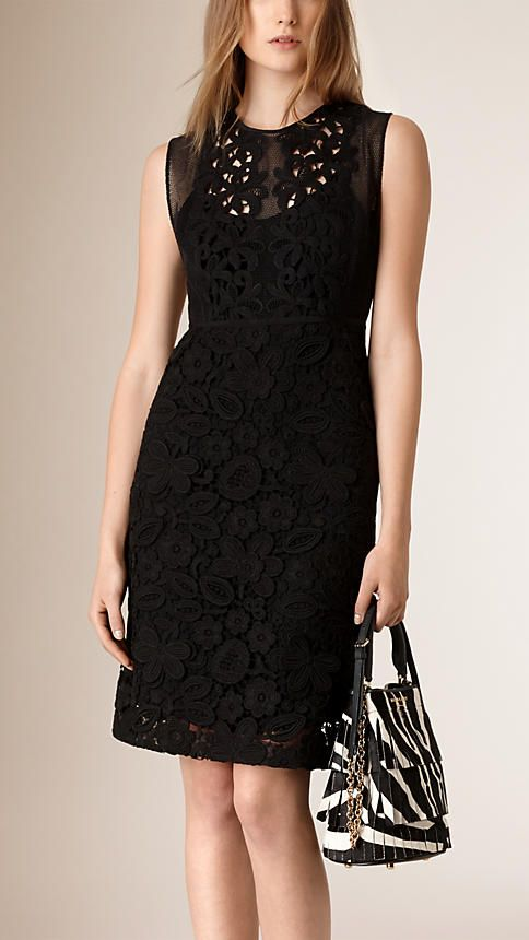 Black Sleeveless Mesh and Macramé Lace Dress - Burberry