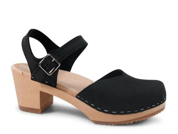 919cb066bcdad Swedish Clogs For Women / Strap Sandal / Closed Toe Shoe/ mid heel clog/  Leather Shoes / Womens Clog