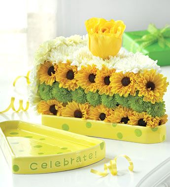 birthday cake floral arrangement Slice of Life from 1800FLOWERS