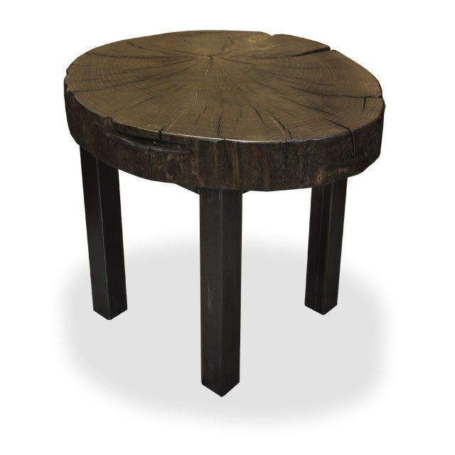 Toronto Salvaged And Reclaimed Wood Live Edge Poplar Cookie Side Table By Urbantreesalvage On Etsy