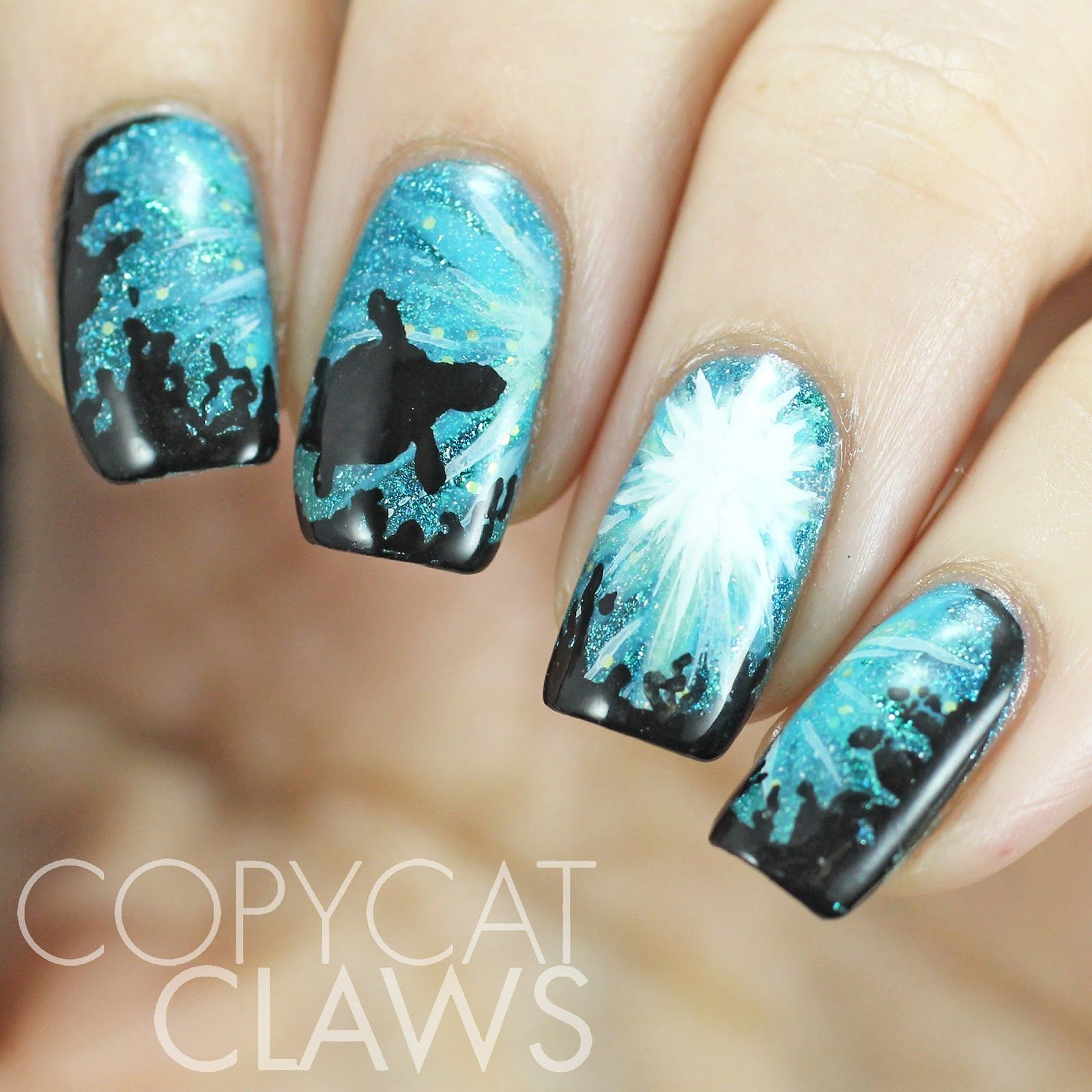 Copycat Claws Blue Color Block Nail Art: Copycat Claws: The Digit-al Dozen Does Nature: Day 1 Sea