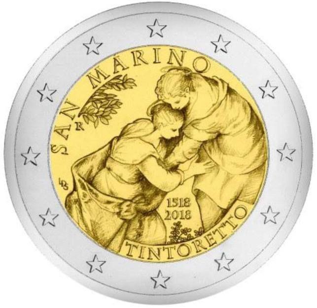 """2 euro commemorativo """"500° anniversario della nascita di Tintoretto"""" Visitazione https://www.facebook.com/photo.php?fbid=538306179859640&set=a.538306159859642.1073741836.100010407882369&type=3&theater"""