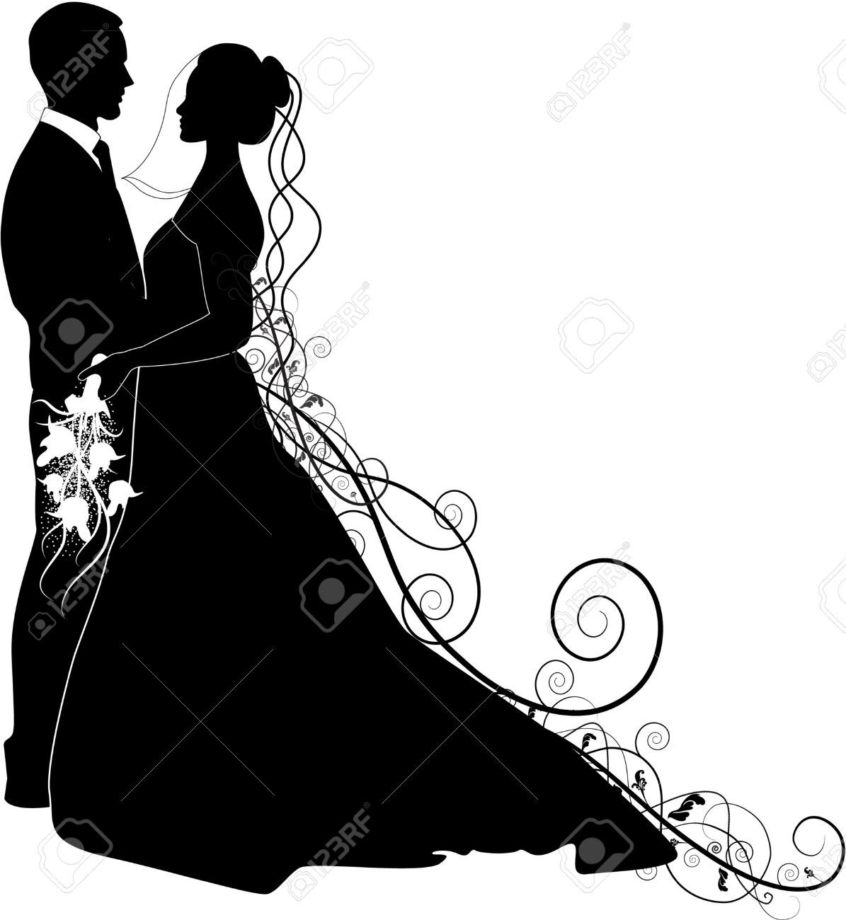 Bride And Groom Silhouette Cliparts, Stock Vector And