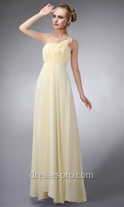Pale Yellow One Shoulder Long Chiffon Bridesmaid Dress DRP0143 ...