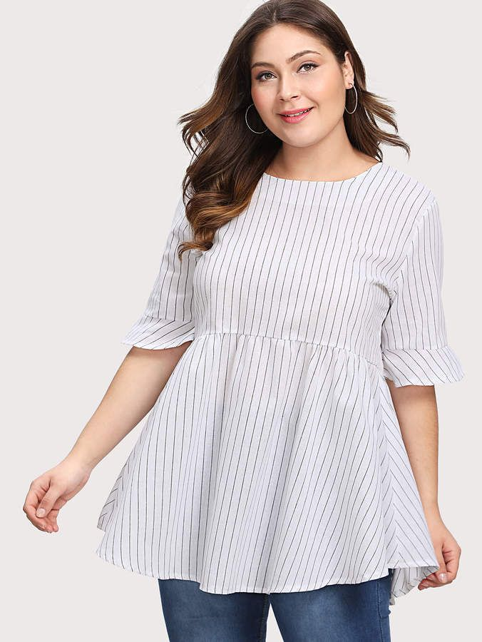 Shein Pinstriped Tie Back Babydoll Blouse #Pinstriped# ...