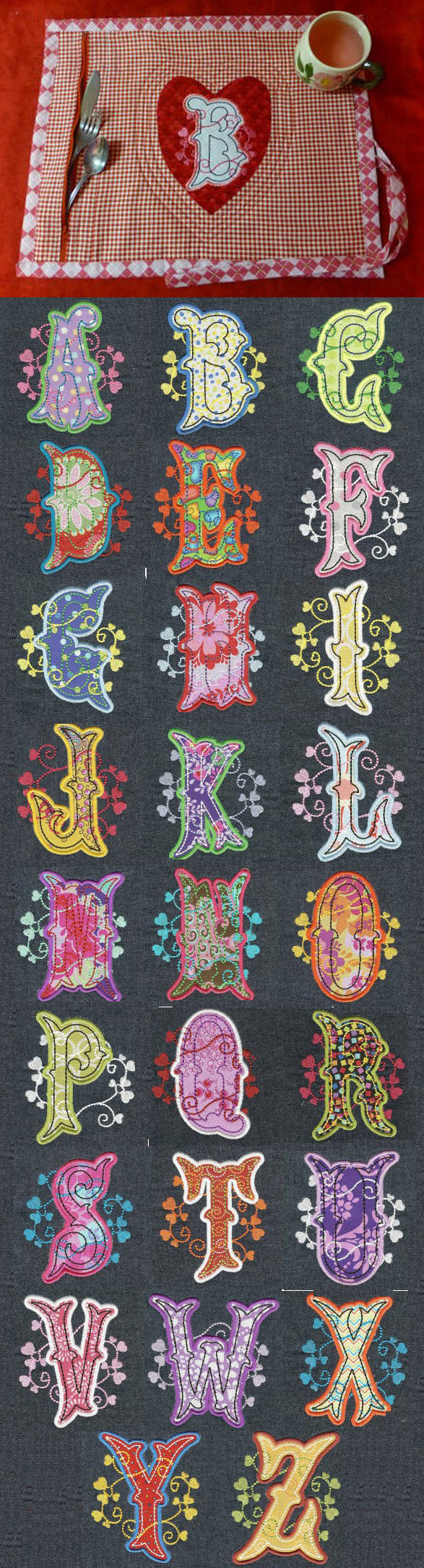 Heartsong applique alphabet design set available for instant
