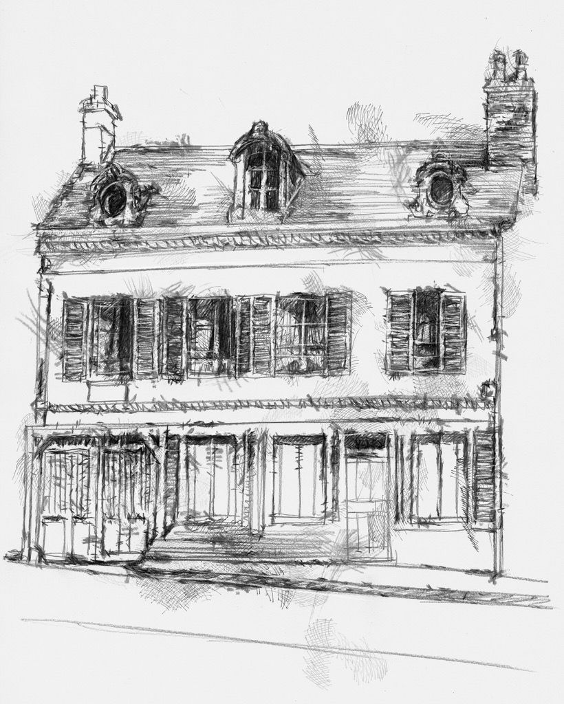 Artist Sean Briggs producing a sketch a day French house  #art #drawing #house #http://etsy.me/1rARc0J #sketch